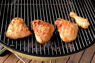 Step 2: Brown chicken pieces over direct heat